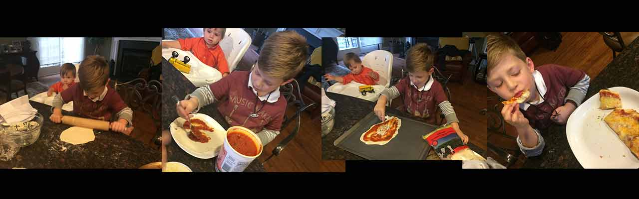 Lucas and the four stages of Pizza Making. Disclaimer: This activity was led by my wife. I was just an observer.