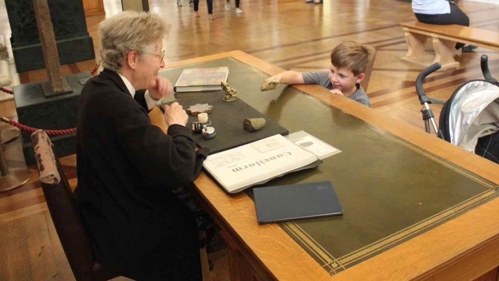 Museums provide 'more input' for children. Here my eldest examines ancient artifacts at the British Museum.