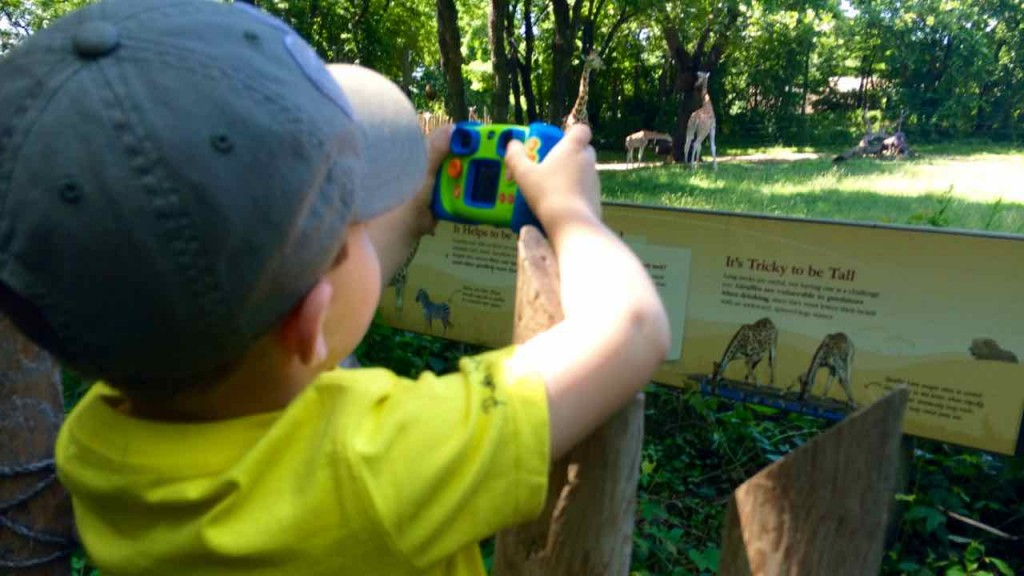 I bought my eldest a VTech Kidizoom Connect Camera. Here he's trying to snatch a picture of a giraffe!