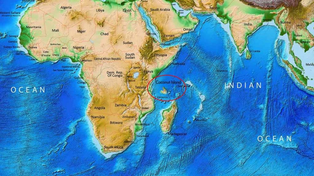The location of Coconut Island as described by my boy.