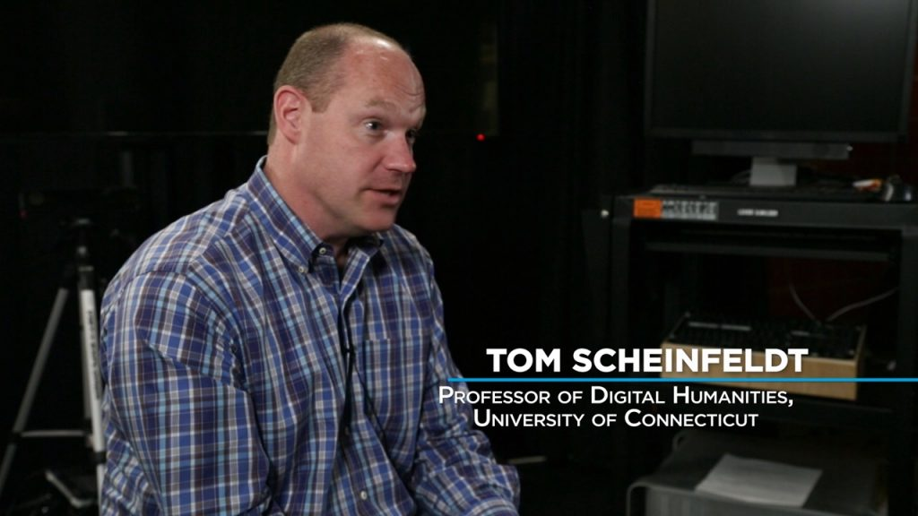 I was lucky to interview a variety of professionals in my film. My first interview was Tom Scheinfeldt who explained our cultural transition to consuming more information via the video screen.