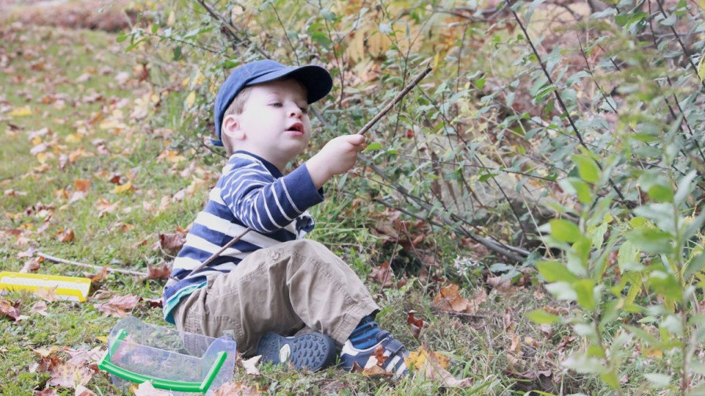 A young Lucas discovers a tiny bug on a nature walk at New Pond Farm in Redding, CT.