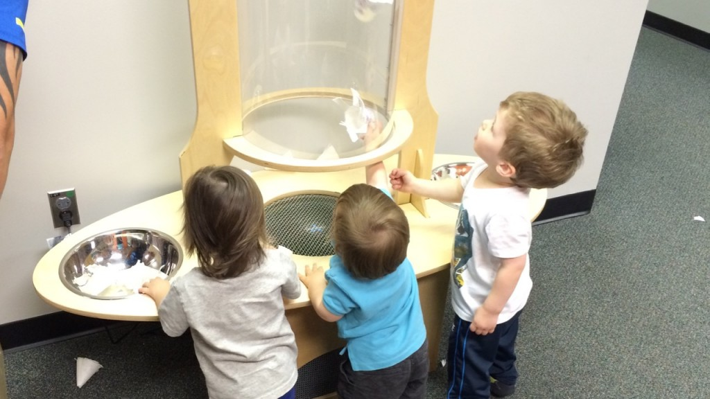 This picture was taken at the EverWonder Museum. Even my youngest got involved in some of the science exhibits (in the blue).